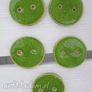 zielone guziczki 5 sztuk, ceramiczne, guziki, zestaw