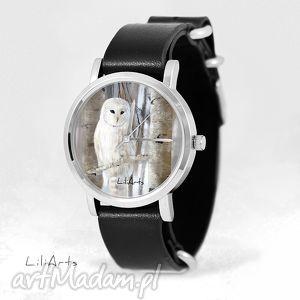 Prezent Zegarek, bransoletka - Biała sowa czarny, skórzany, nato, zegarek
