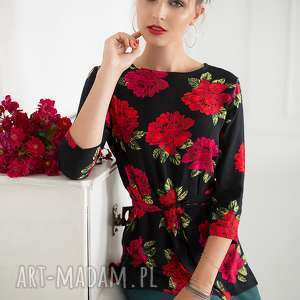 Bluzka w róże , czarna, czerwona, elegancka,