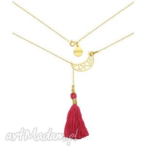złoty regulowany naszyjnik z ażurowym półksiężycem i chwostem, modny, orientalny