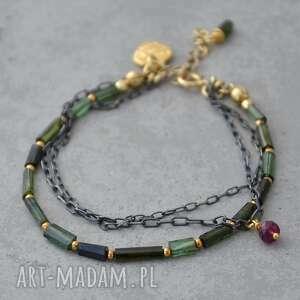 zielony turmalin w czarnym srebrze i złocie bransoletka 056, srebro, pozłacane