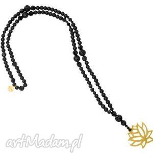 handmade naszyjniki długi czarny modowy naszyjnik kwiat lotosu złoto onyks kryształy swarovski® elements