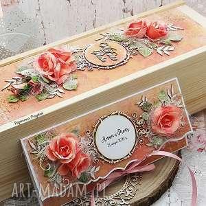 Prezent komplet ślubny- opakowanie na wino i kartka kopertówka, ślub, kartka-ślubna