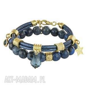 denim - dual - niebieskie bransoletki, minerały, dumortieryt swarovski