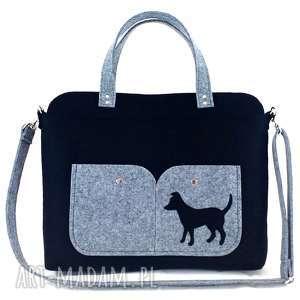 Black laptop bag with dog - ,torebka,filc,piesek,technika-szycie,laptop,