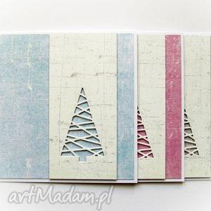 geometryczne choinki - zestaw trzech pastelowych kartek, kartki, świąteczne