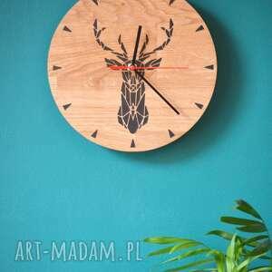 zegary zegar z drewna dębowy jeleń, zegar, drewno, jeleń, żywica, loft