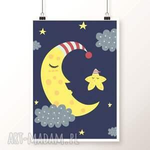 Plakat KSIĘŻYC A3, księżyc, gwiazdka, gwiazdy, dobranoc, obrazek, plakat