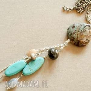 naszyjnik ze srebra i jaspisu - kobiecy, srebro, pastele