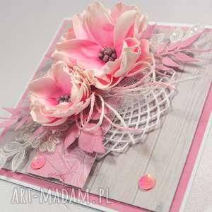 Różowa, kartka, życzenia, scrapbooking