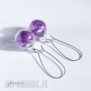 fioletowe piórka - kolczyki wiszące, kolczyki, bigle, szklane
