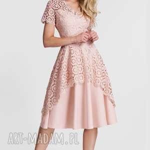 Sukienka TRINI Midi Koronka (Pastelowy Róż), koronkowa, sukienka, midi, pudrowa
