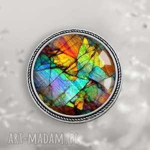 amazing 1 piękna oryginalna okrągła broszka - broszka, kolorowa, szklana