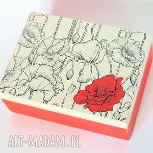 Pudełko drewniane - Eleganckie maki, pudełko, mak, eleganckie, decoupage, mama