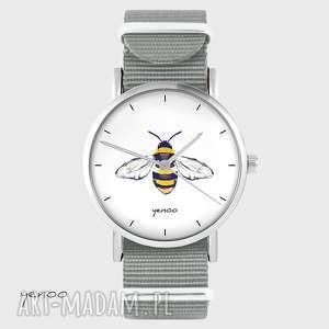 hand made zegarki zegarek - pszczoła szary, nato