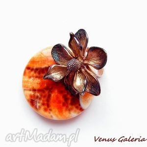 pierścionek - magnolia brązowa duża, biżuteria, srebro, pierścionek