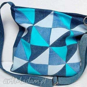 hand made na ramię torebka jeans. Turkusowy patchwork