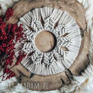 mandala makrama łapacz snów, dekoracja ecru, białe dekoracje
