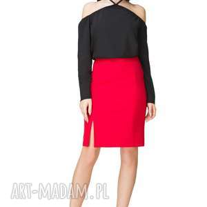 spódnica ołówkowa z wysokim stanem, t201, czerwona, spódnica, ołówkowa, wysoki, stan