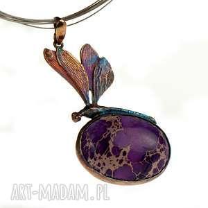 Ważka z fioletowym jaspisem cesarskim srebro a695 naszyjniki