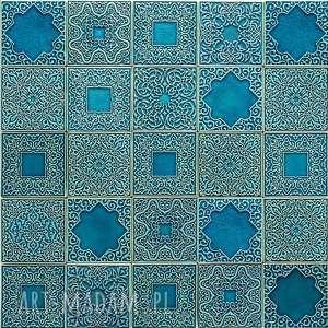 handmade ceramika kafle arabeski zestaw ornamentów w kolorze turkus no. 2