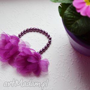 gumka z kwiatami, gumka, kwiaty, jedwab, perły, fiolet, wesele, wyjątkowy prezent