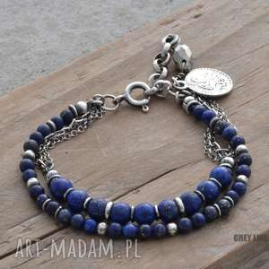 bransoletki bransoletka srebrna z lapis lazuli, srebro, lapis, piryt