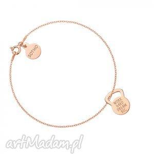 bransoletka z różowego złota kettlebell work hard dream big, modna