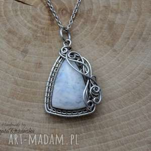 handmade wisiorki wisiorek kamień księżycowy, wire wrapping, stal chirurgiczna