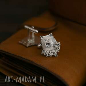 hand-made spinki do mankietów zadziorne kotki, srebrne