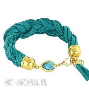 lavoga braid - turquoise gold , zamsz, warkocz, kryształek biżuteria
