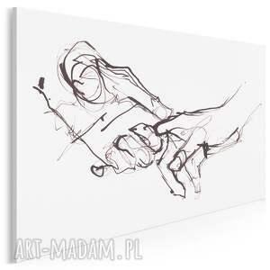 obraz na płótnie - dotyk dłonie minimalistyczny 120x80 cm (702501)