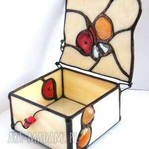 szkatułka na biżuterię witrażowa kwadratowa z karneolem i koralem