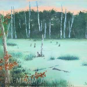 Bagno w lesie - obraz olejny, pejzaż, przyroda, las, natura