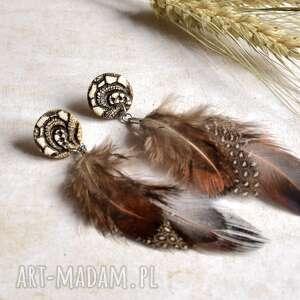 indiańskie kolczyki z piórami, kolczyki, kolczykiz pióra