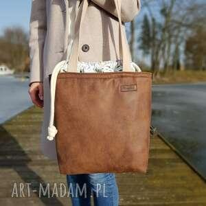 handmade na ramię duża torba z kominem - brąz