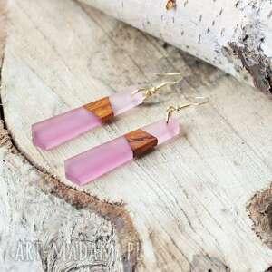 kolczyki drewniane z żywicą dwa odcienie