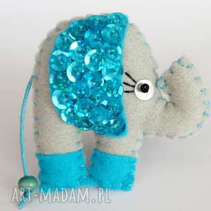 Cekinowy słoń broszka z filcu broszki tinyart słoń, cekiny