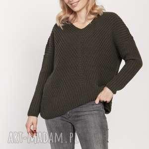 swetry asymetryczny sweterek, swe191 zielony mkm, sweter, asymetryczny