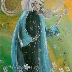 anioł ze skrzypcemi 30x42cm, czajkowska, obraz, płótno, skrzypce