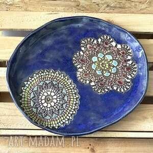 ceramika patera / talerz in blue, ceramiczny, z koronką, motyw