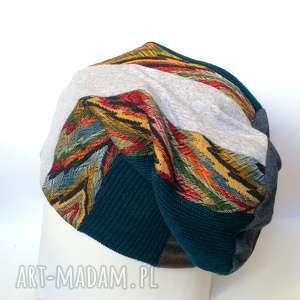 czapka patchworkowa ciepła zimowa - czapka, patchwork, etno, boho, wzory, orient