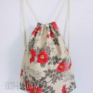 plecak w kwiaty worek vintage, worek, plecak,