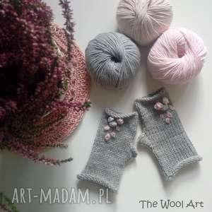 rękawiczki mitenki, rękawiczki, na drutach, wełniane