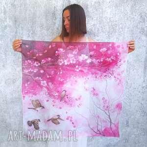 apaszka jedwabna kwiaty wiśni, jedwabna, z jedwabiu, malowane