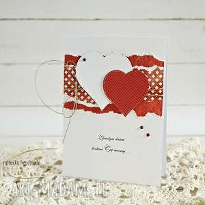 Walentynka z sercami - ,walentynka,kartka,walentynkowa,prezent,