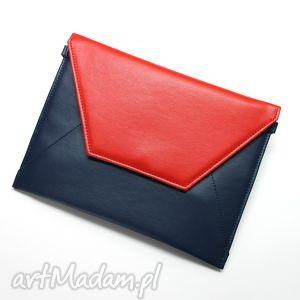 Kopertówka - granat i klapka czerwona, elegancka, nowoczesna, wizytowa, wieczorowa