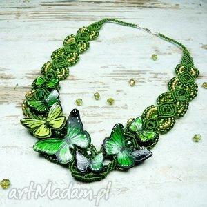 naszyjniki wiosenny, wyjątkowy naszyjnik z motylami w odcieniach zieleni, greenery