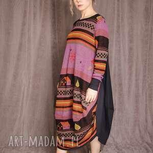 kolorowa sukienka w domki, wielokolorowa, nadruk, grafika, owersize, luzna, maxi