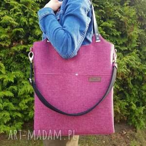 handmade na ramię duża torba fuksja w melanżu i czerń